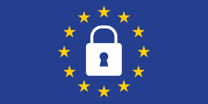 The EU flag with a lock icon in the centre