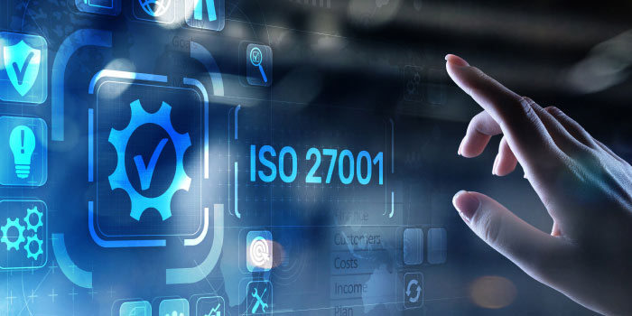 Futuristic dashboard with a button named ISO27001 being pressed