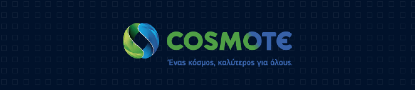 Cosmote logo on a dark blue background