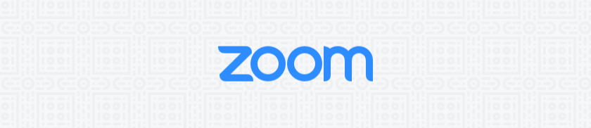 Zoom logo on a grey background