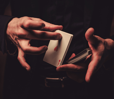 A man shuffling cards