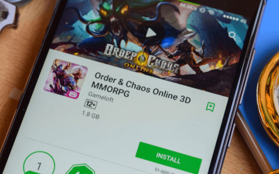 An app being installed from the Google play store