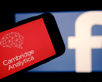Cambridge Analytica logo infront of a Facebook logo