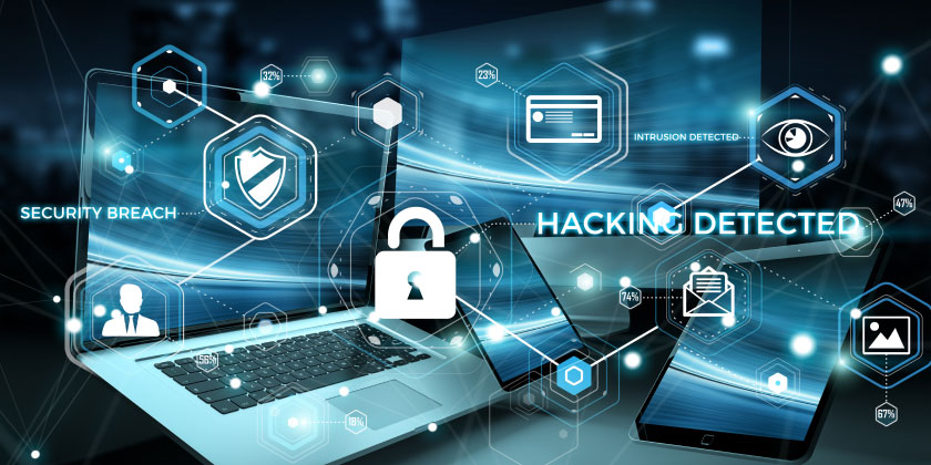 A host of computer devices with hacking detected in writing
