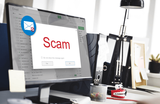 A scam alert on a desktop email client
