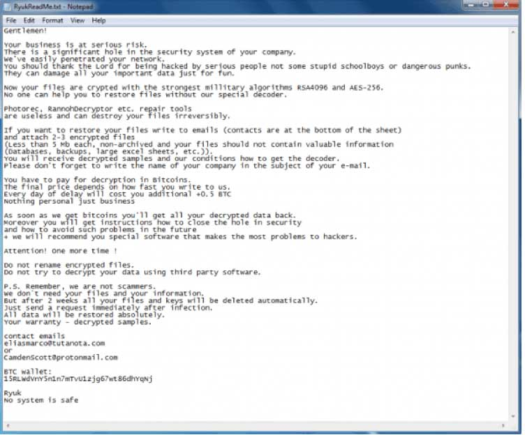 A text file example of a Ryuk ransom