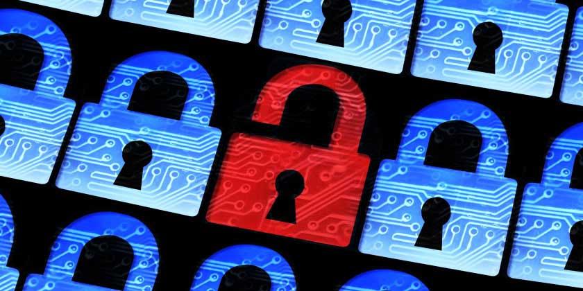 A red padlock among blue locks, signaling a breach