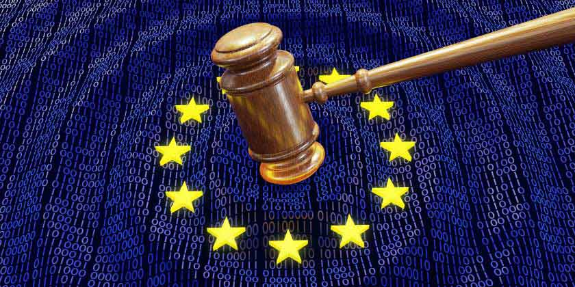 A gavel on an EU flag
