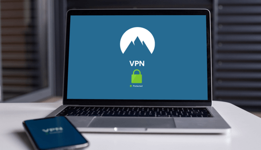 A laptop with a VPN connection enabled