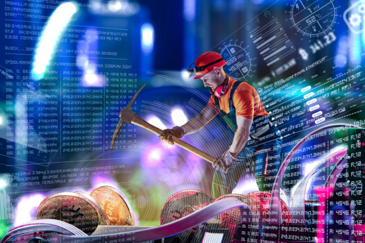A man mining cryptocurrency