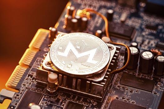 Monero coin sitting on a CPU