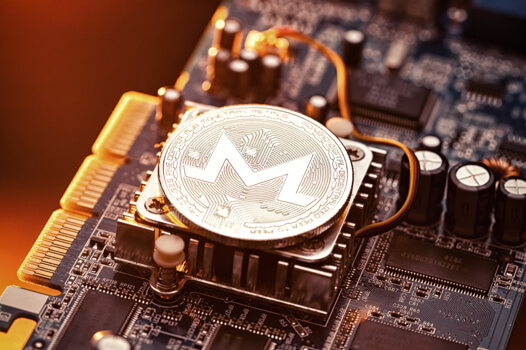 Monero coin sitting on a CPU