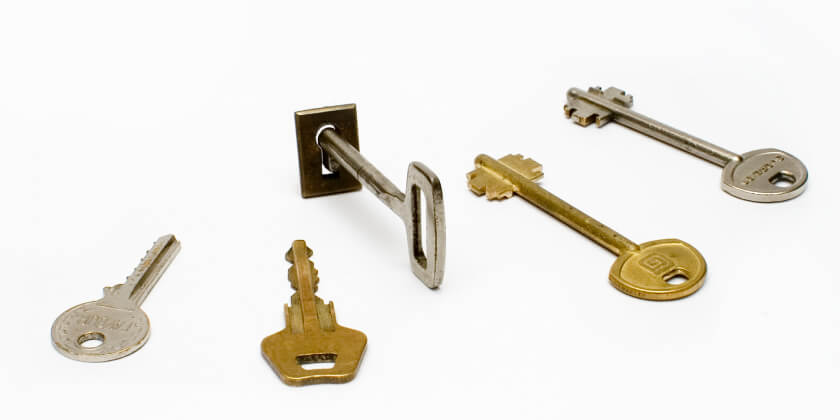 Various keys with one key in a lock