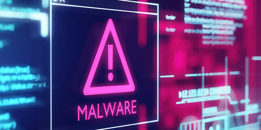 A computer screen with a malware icon displayed