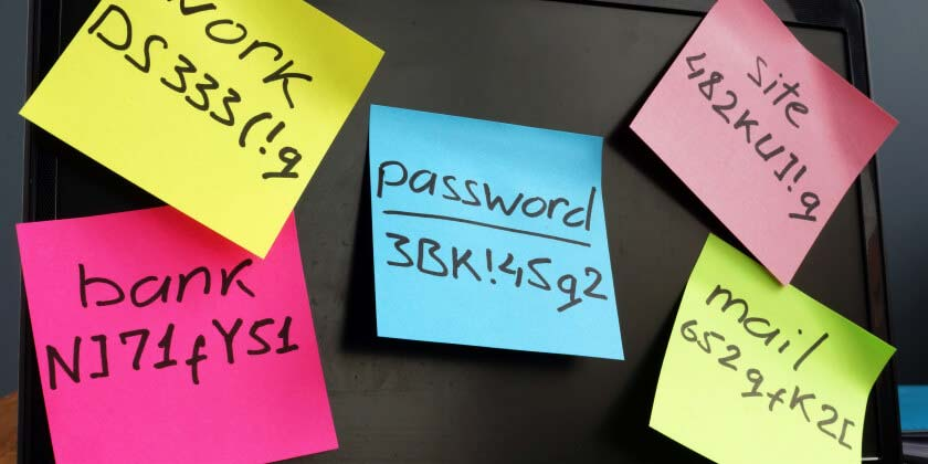 Assorted stickynotes with passwords written on them