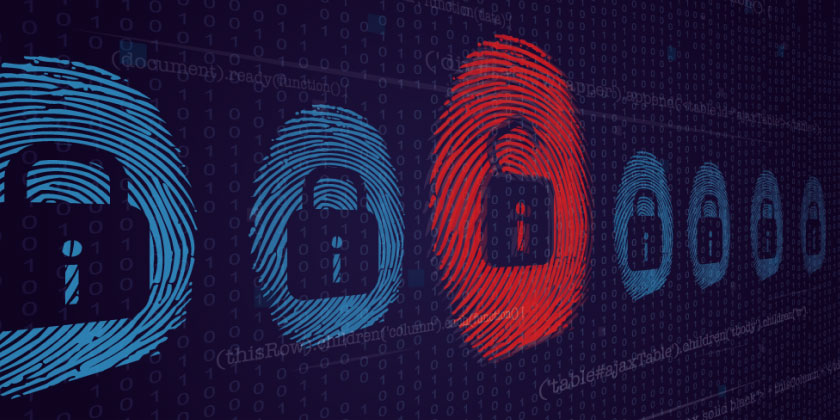 Cyber thumbprints with a red padlock