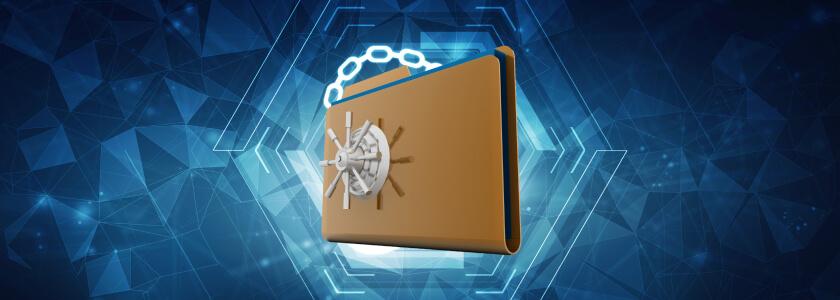 A computer folder with a vault lock