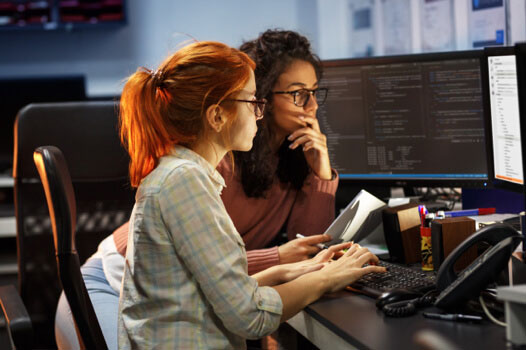 Women looking on a computer together