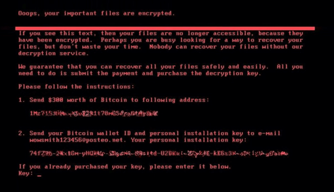 Figure 1. NotPetya ransomware prompt on screen