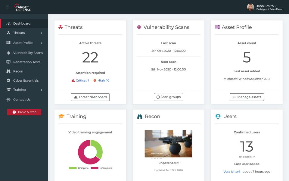 Target Defense dashboard screenshot